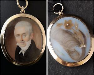 Retrato-de-oro-antiguo-relicario-Colgante-hairwork-Victoriano-De-Luto