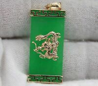 14 Karat Yellow Gold Natural Apple Jade Bar Dragon Pendant. 30mm X 14mm