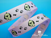 5 Yards 1'' Dog And Paws On Pink Printed Grosgrain Ribbon