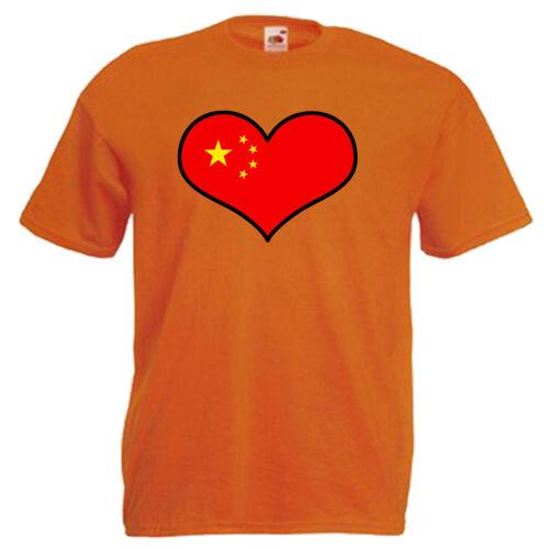 La Cina Amore Cuore Bandiera Children/'s Kids Bambino T Shirt