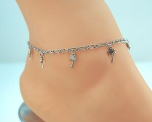Image Is Loading Sterliing Sliver Clad Bond Palm Tree Charm Anklet