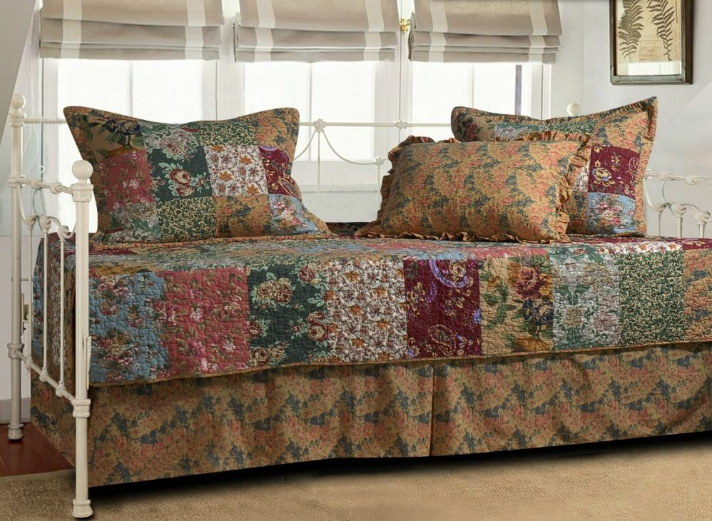 Daybed Bedding Set Cover Quilted Patchwork Design Floral Day Bed Brown 5 PC