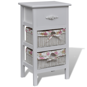 Image is loading White-Cabinet-1-Drawer-2-Baskets-Wood-Bathroom-  sc 1 st  eBay & White Cabinet 1 Drawer 2 Baskets Wood Bathroom Storage Unit Basket ...