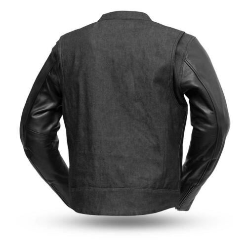 First manufacturing Mens FIM266DMLRough Neck Raw Denim//Leather Sleeves