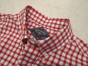 Bills-Khakis-100-Cotton-Resort-Oxford-Red-Tattersall-Sport-Shirt-NWT-Small-145
