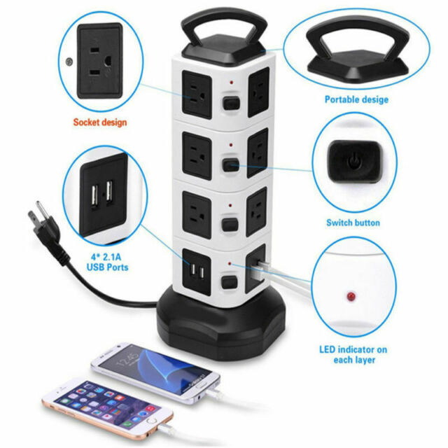 Power Strip with USB Surge Protector 14 Outlet 4 USB Port Charger Charging Tower