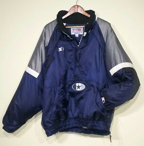 new style f6728 2b7fa Details about Rare Vintage Dallas Cowboys Starter Pullover Jacket Packable  Hood Mens Large NFL