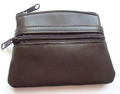 Brown Ladies Buxton Genuine Leather Double Coin Zipper Purse
