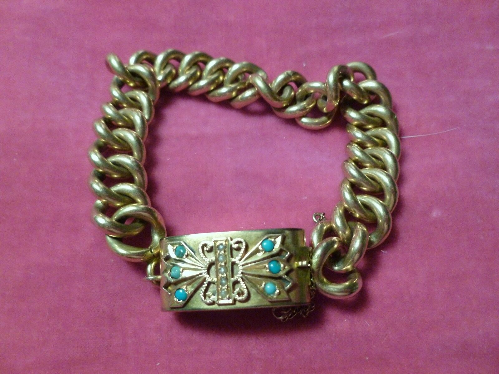 10K 14K gold VICTORIAN BRACELET W PEARL & TURQUOISE CLASP  HALLMARKED 17.8 GRAMS
