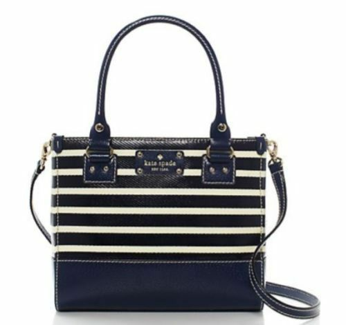 Kate Spade French Navy Stripe Wellesley Small Quinn Handbag Crossbody Bag Ebay