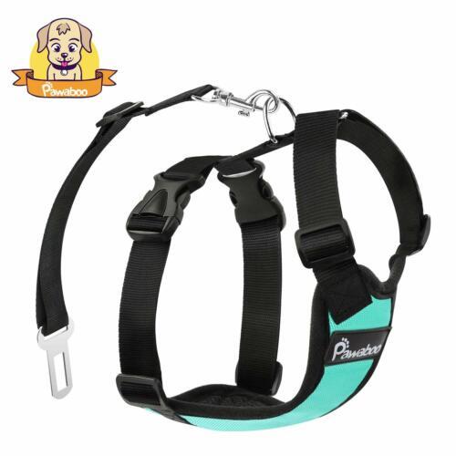 PAWABOO Pet Dog Soft Safety Mesh Vest Harness Walk Collar Strap w//Car Seat Belt