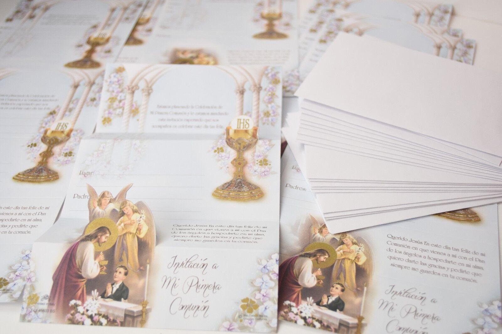 12 X INVITACIONES MI PRIMERA COMUNION NINO ESPANOL SPANISH 1ST COMMUNION INVITES