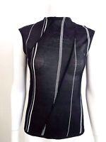 Emanuel Ungaro Black Mesh Sleeveless Top Blouse White Stitched Seams L