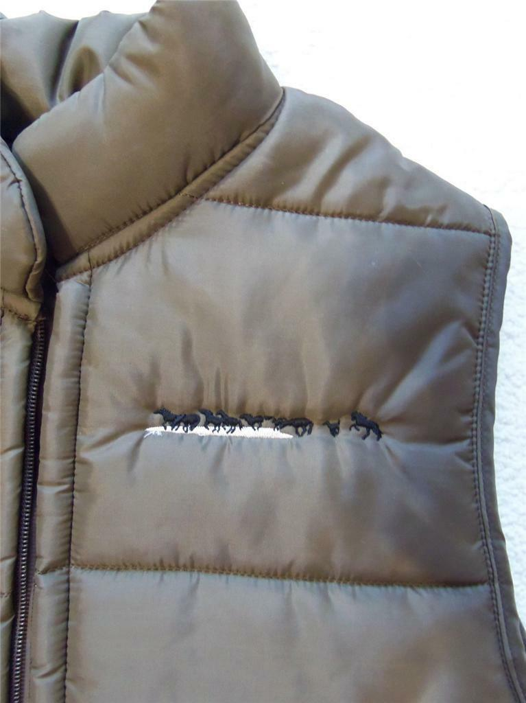 Medium Brown BIG SMITH NYLON QUILTED INSULATED VEST Embroidered Running Horses