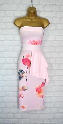 ~FAYE~ Pink Floral Frill V Neck Party Bodycon Evening Midi Dress 6 8 10 12 14