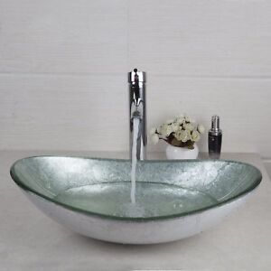 Merveilleux Details About FA Bathroom Silver Oval Glass Vanity Basin Bowl Vessel Sink  Mixer Chrome Faucet