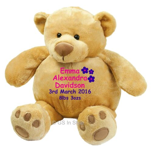 PERSONALISED PLUSH TEDDY BEAR EMBROIDERED NEW BABY BIRTHDAY CHRISTENING GIFT
