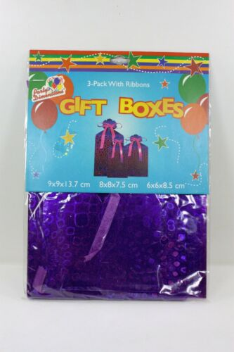 3 PACK GIFT BOXES 3 SIZES IN EACH PACKAGE 3 COLORS PURPLE GREEN  BLUE RIBBONS