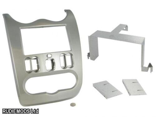 Dacia Sandero 10-12 Shiny Grey Double Din Car Stereo Fitting Kit Facia CT23DC03