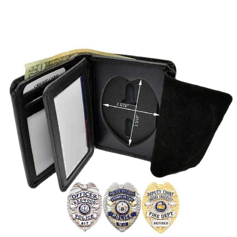 Officer Redwood Police - Premium Quality Genuine Leather Bifold Badge Wallet