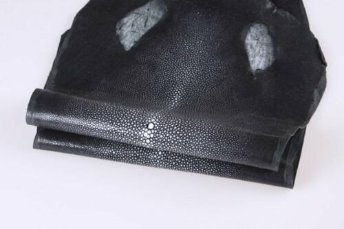 Real Black Stingray Skin Soft Hide Leather Hide Pelt Genuine Shagreen Fish Skin