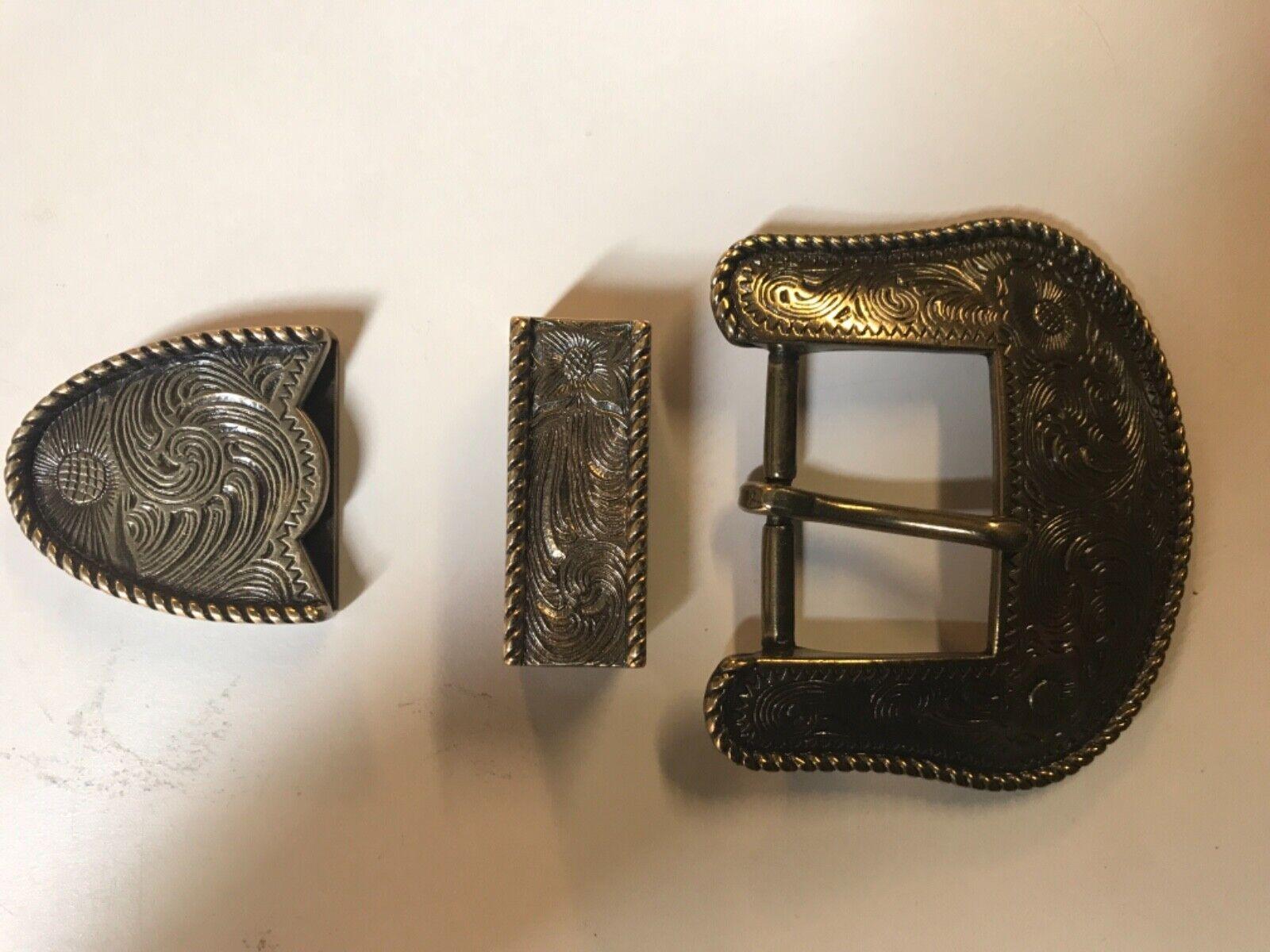 Floral engraved Western 3 piece cowboy,rodeo belt buckle set.antique brass plait