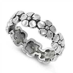 Oxidised STERLING SILVER Daisy Flower Chain Ring Plus Size 10 11 12 13 T V X Z
