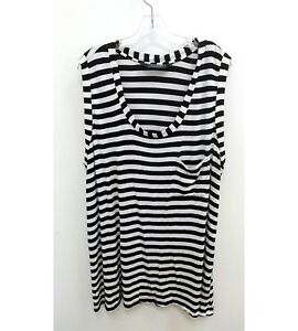 Norma-Kamali-Womens-Plus-Sz-3X-Tunic-Blouse-Sleeveless-Black-White-Striped-P13