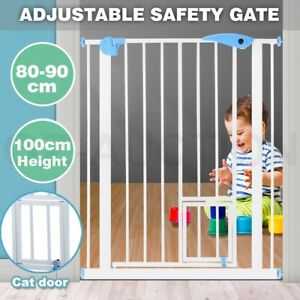100cm Tall Baby Safety Security Gate Adjustable Pet Dog Stair Barrier Cat Door