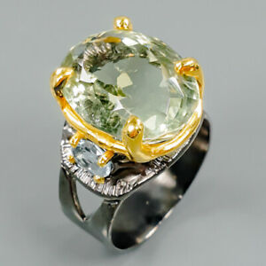 Fine-Art22ct-Natural-Green-Amethyst-925-Sterling-Silver-Ring-Size-9-R88176