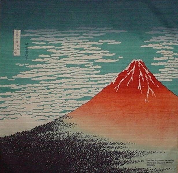 Furoshiki Wrapping Cloth Japanese Fabric Hokusai's 'Aka Fuji' Cotton 48cm