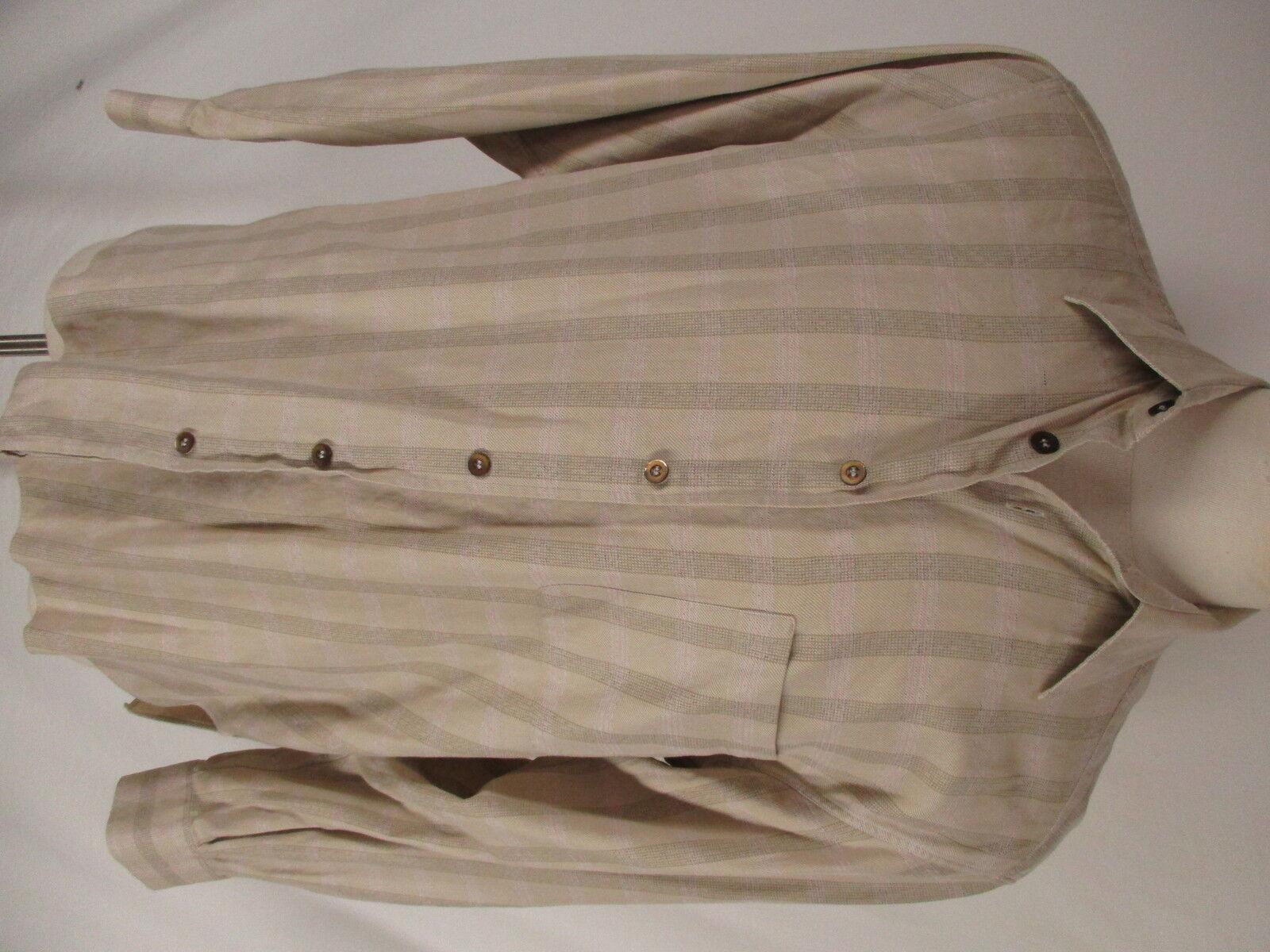 Ermenegildo Zegna Mens Beige Plaid Long Sleeve Shirt L  Made