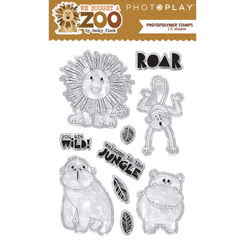Photo Play We Bought a Zoo Polymer Stamp Set 10 shapes Lion Monkey jungle safari