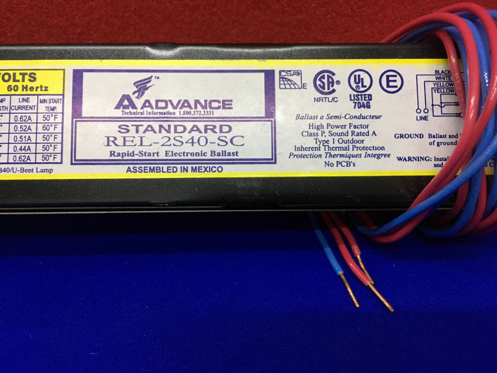 Advance REL-2S40-SC Rapid Start Electronic Fluorescent Lighting Ballast New!