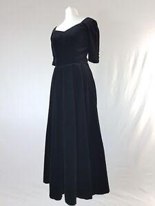 Vintage-Laura-Ashley-robe-velours-noir-victorien-robes-de-bal-30-S-40-S-80-S-UK-10-12