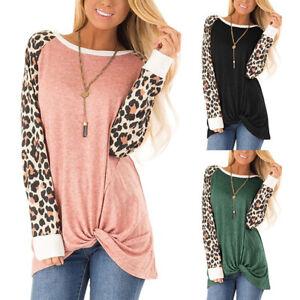 Women's Casual Leopard Long Sleeve Twist Knot Tunics Top Blouse Loose T Shirts
