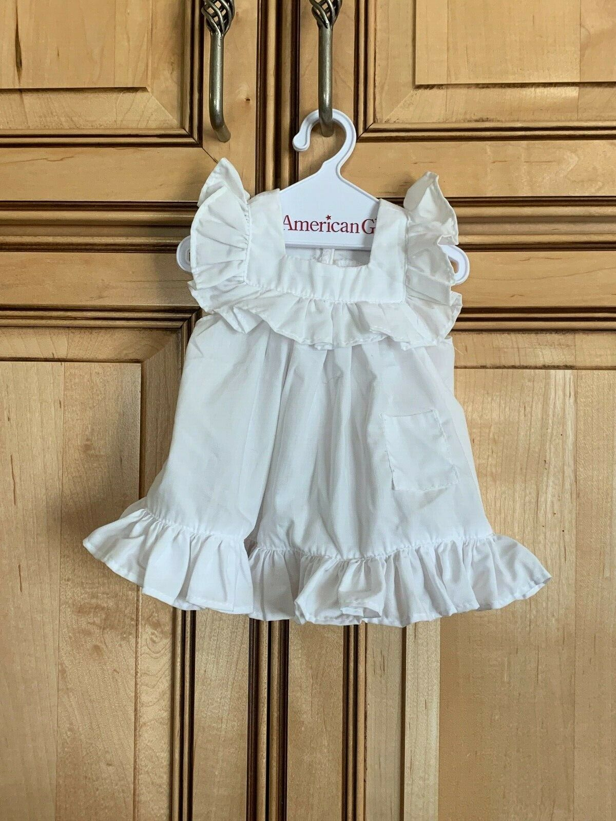 American Girl Samantha White Pinafore Apron From Play Dress EXCELLENT CONDITION