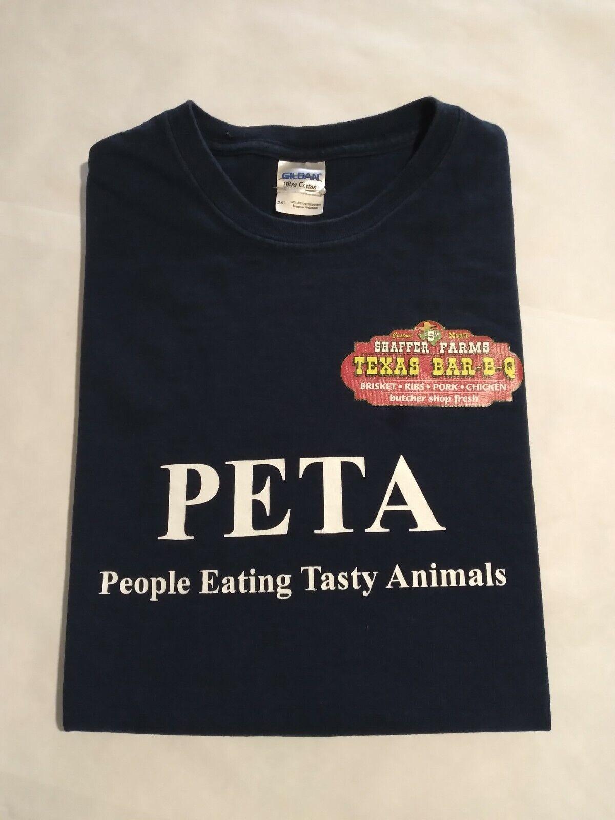 90's 2 HIT Shaffer Farms PETA Streetwear Navy 2X Crewneck Tshirt VintageOldStock
