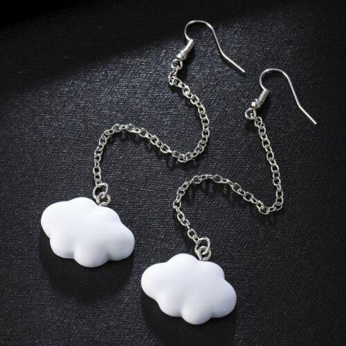 Fashion Cute Simple White Cloud Earrings Hook Dangle Long Chain Women Jewellery