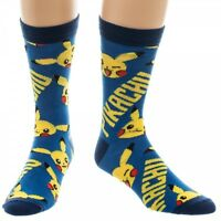 Nintendo Pokemon Pikachu Symbols Mens Crew Socks Blue Logo All Over Print Go