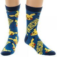 Nintendo Pokemon Pikachu Symbols Mens Crew Socks Blue Logo All Over Print Go