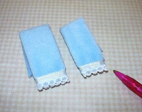 DOLLHOUSE 1:12 Miniature BLUE Falcon Bath Towels Lace and Silk Trim Set of 2