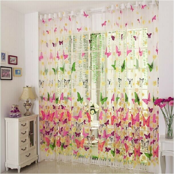 Window Panel Curtain Room Divider 1Pcs 100x270cm New Butterfly Print Sheer Voile