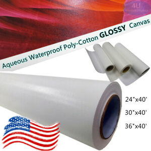 """24/""""x40ft,Semi-Glossy Poly-Cotton Inkjet Canvas Rolls for Canon HP EPSON Printers"""
