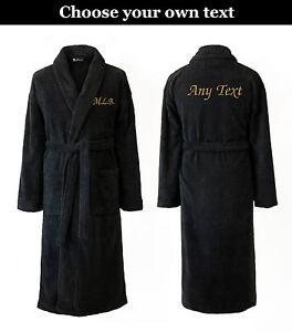 ... Personalizzato SCIALLE Spugna Accappatoio Vestaglia Nero Con Corda