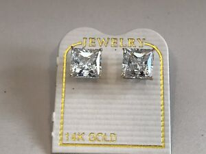 14K-SOLID-YELLOW-GOLD-STUD-EARRINGS-W-3-CT-LAB-DIAMONDS-PRINCESS-CUT-STUNNING