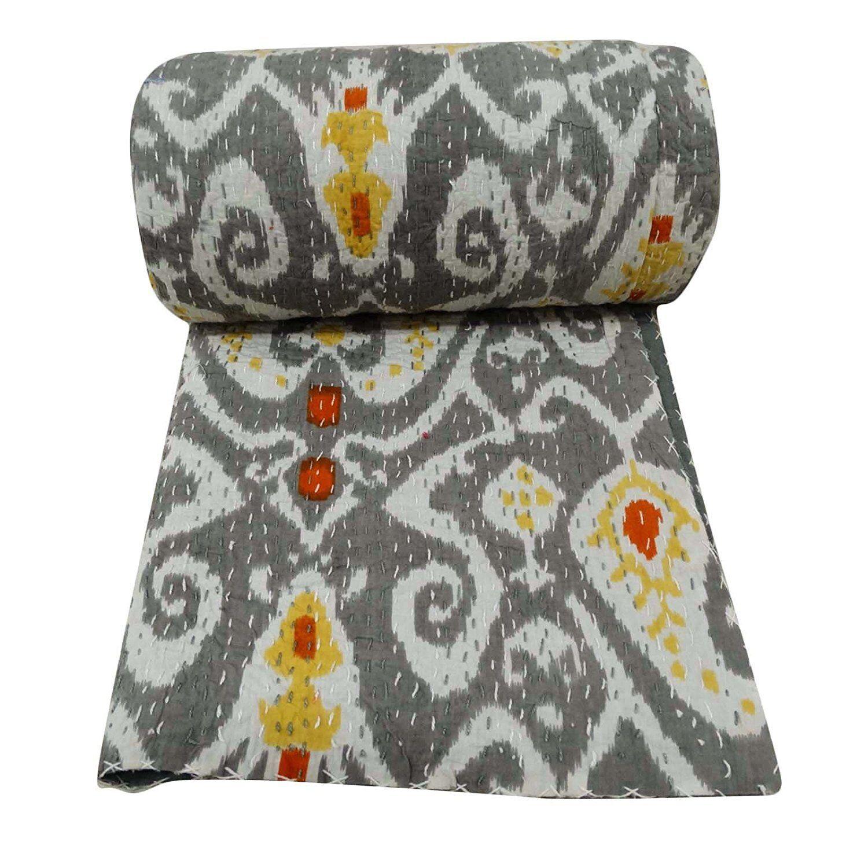 Indian Blanket Cotton Antique Kantha Quilt Patchwork Cotton QueenSize Bed spread