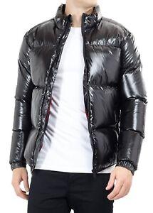 Details zu Men's High Shine Wet Look Matallic Puffer Padded Bomber Jacket Quilted Coat Blac