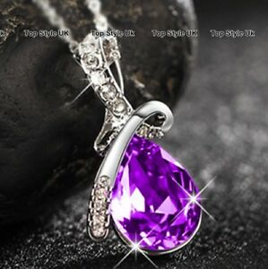Silver Jewellery Purple Crystal Necklace Girls Gifts for Her Costume Fashion A6 - -, United Kingdom - Silver Jewellery Purple Crystal Necklace Girls Gifts for Her Costume Fashion A6 - -, United Kingdom