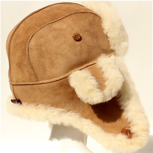 238699bf07110 AOSTEN Men Women Genuine Leather Sheep Fur Trapper Hat Sheepskin ...